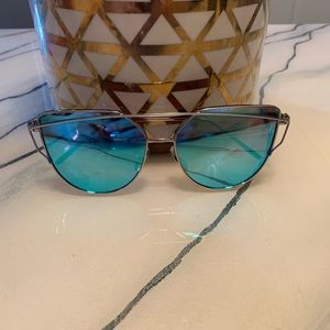 Designer inspired blue mirror cat eye sunglasses